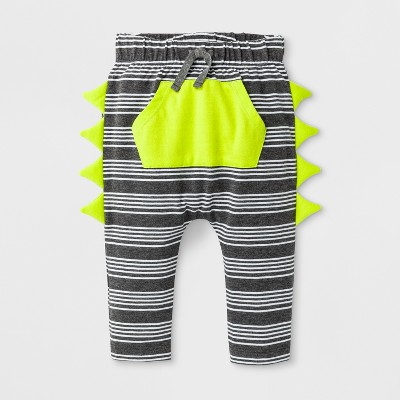 Baby Boys' Joggers with Kangaroo Pocket and Critter Spikes - Cat & Jack™ Dark Heather Gray 0-3M