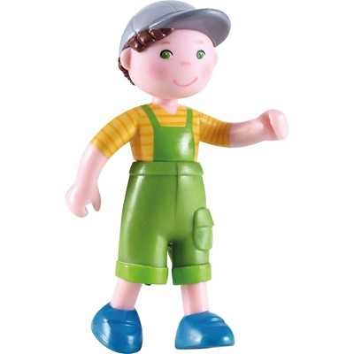 """HABA Little Friends Farm Boy Nils - 4"""" Dollhouse Toy Figure with Overalls and Cap"""