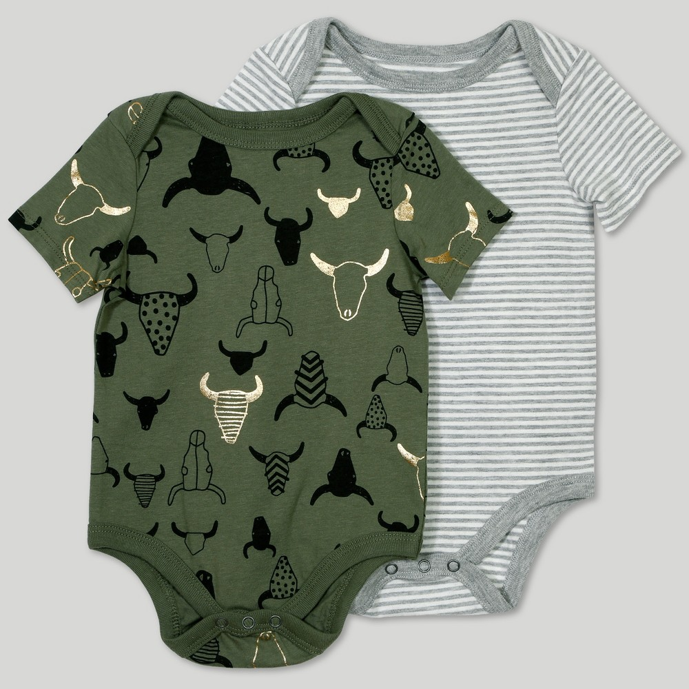 Image of Afton Street Baby Boys' 2pc Short Sleeve Bodysuit Set - Gray/White 0-3M, Multicolored