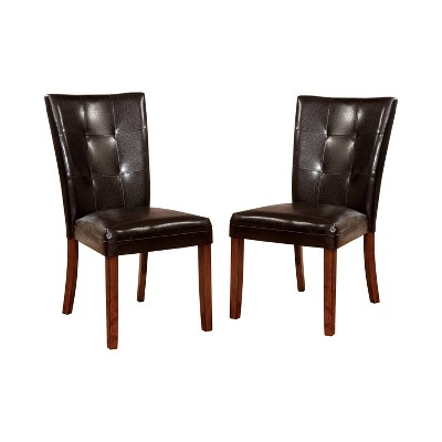 Set of 2 JuliaBrown Leatherette Button Tufted Side Chair Antique Oak - HOMES: Inside + Out