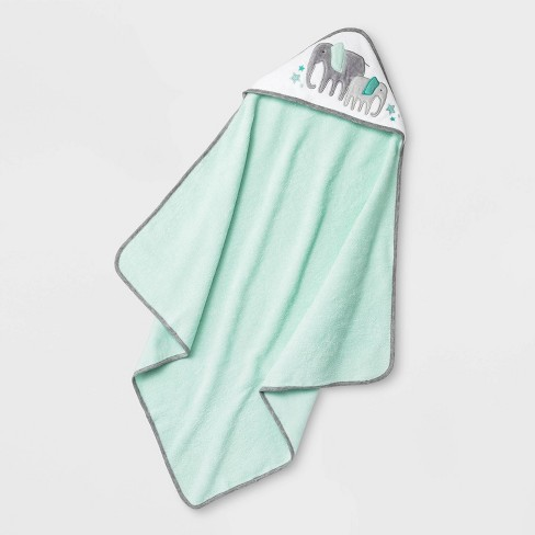Baby Elephant Hooded Bath Towel - Cloud Island™ Mint Green One Size - image 1 of 1