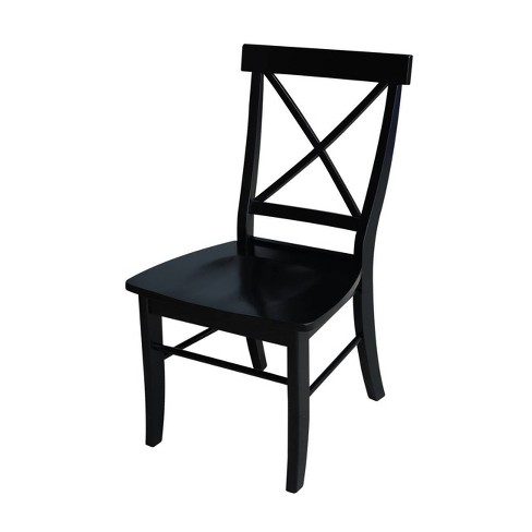 Set Of 2 X Back Chairs With Solid Wood Seats Black International Concepts Target