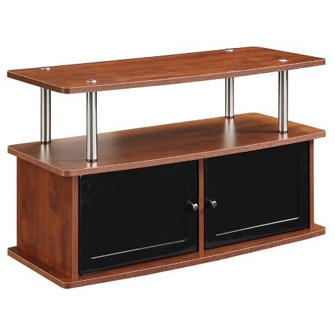 "TV Stand Black Glass Cabinet - 36""- Cherry - Designs2Go - image 1 of 3"