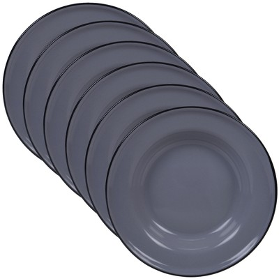 Certified International Steel/Enamelware Salad Plates 8  Gray - Set of 6