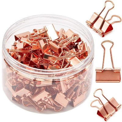 100 Pack 0.75 in Rose Gold Binder Clips Paper Clips Clamps File Clips for Office School Supplies