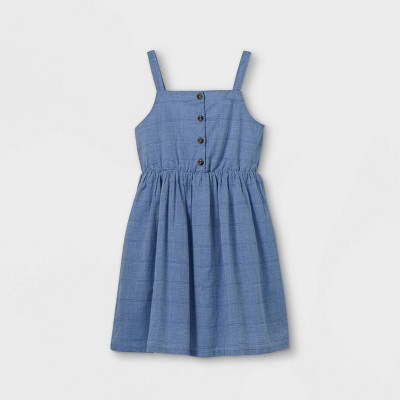 Girls' Button-Front Sleeveless Woven Dress - Cat & Jack™