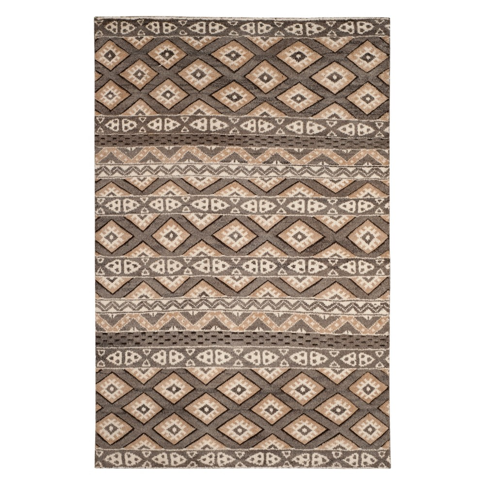 6'X9' Tribal Design Knotted Area Rug Camel - Safavieh, Brown