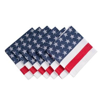 Set of 6 Stars & Stripe Napkins Blue/Red - Design Imports
