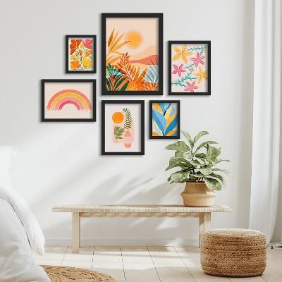 Americanflat Golden Greek Garden by Modern Tropical 6 Piece Framed Gallery Wall Art Set
