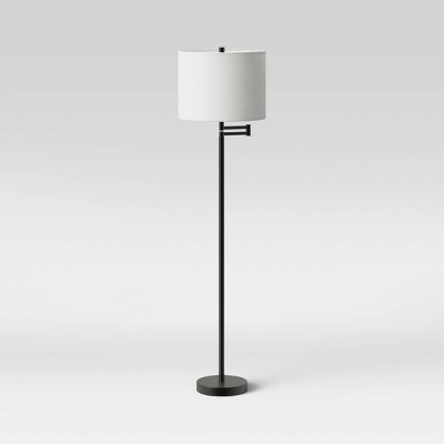 Metal Column Swing Arm Floor Lamp Black (Includes LED Light Bulb) - Threshold™