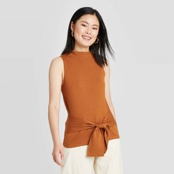 Women's Crewneck Tie Waist Sweater Tank - A New Day™