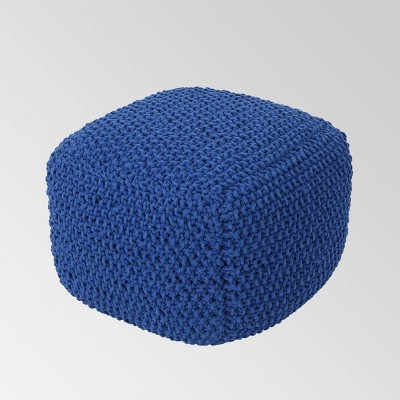 Elowski Knitted Pouf Navy Blue - Christopher Knight Home