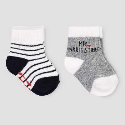 Baby Boys' 2pk Irresistible Crew Socks - Just One You® made by carter's Gray/White 0-6M