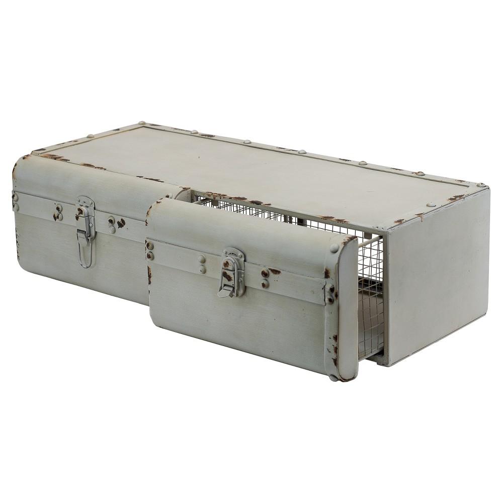 Metal Decorative Suitcase White - Vip Home & Garden, Dove White
