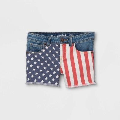 Girls' Flag Jean Shorts - Cat & Jack™ Dark Wash