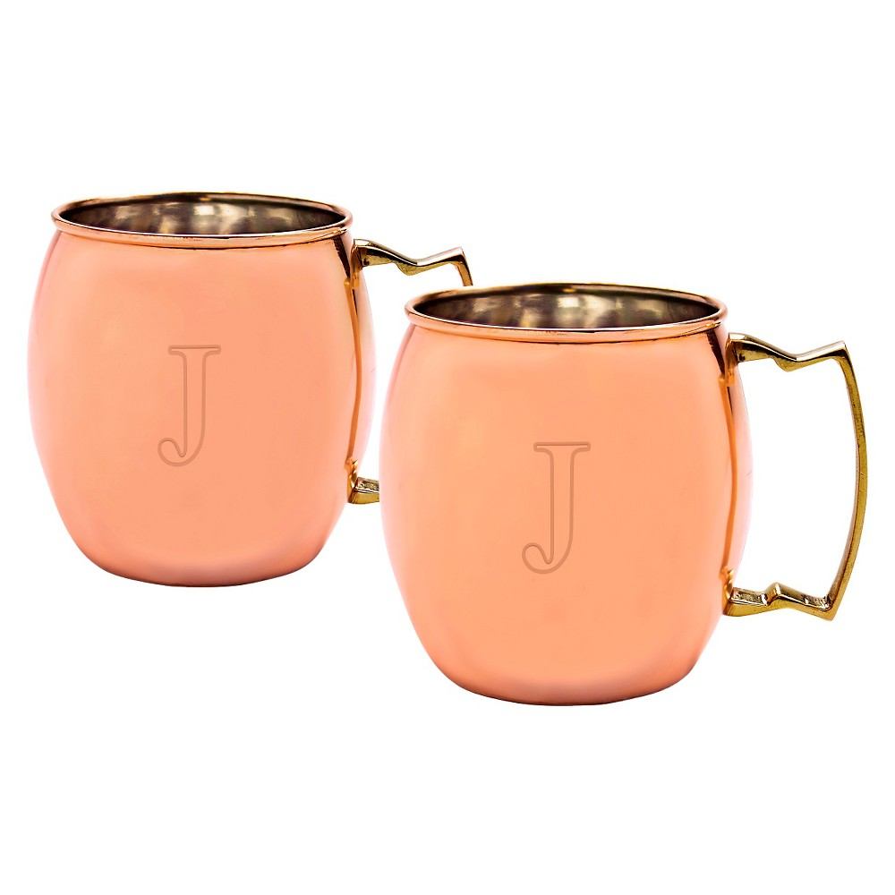 Cathy's Concepts 20oz 2pk Monogram Moscow Mule Copper Mugs J, Brown