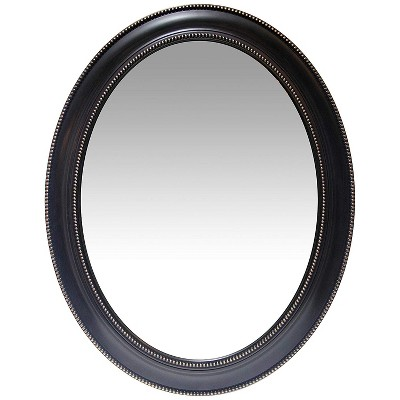 Infinity Instruments Traditional Antique Decorative 30-Inch Bead Framed Sonore Oval Wall Hanging Mirror, Black