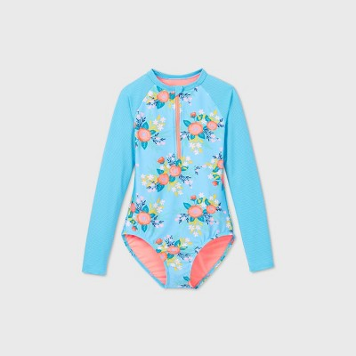 Girls' Long Sleeve Ribbed Floral One Piece Swimsuit - Cat & Jack™ Blue