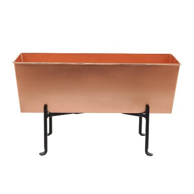Medium Galvanized Metal Rectangular Planter Box with Folding Stand Copper - ACHLA Designs