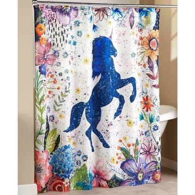Lakeside Boho Style Unicorn Bathroom Shower Curtain - Fantasy Restroom Accent