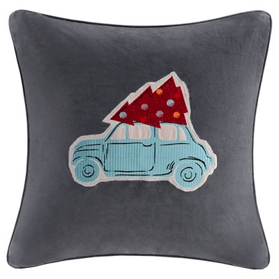 Gray Holiday Velvet Drive Throw Pillow (20 x20 )