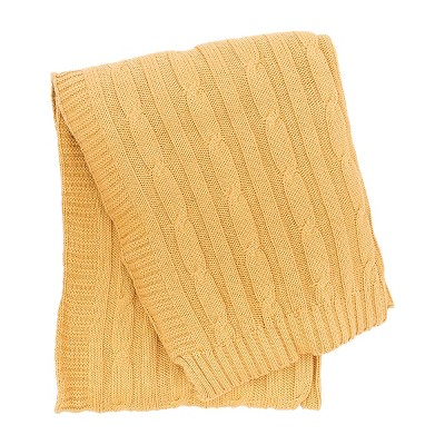 C&F Home Camel Cable Knit Woven Throw