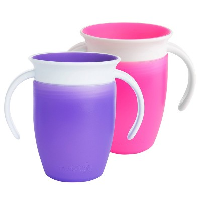 Munchkin 2pk Miracle 360 Pink/Purpule Trainer Cup - 7oz