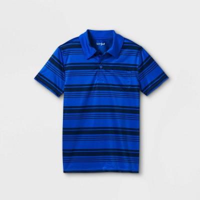 Boys' Striped Knit Polo Short Sleeve Shirt - Cat & Jack™ Black/Blue