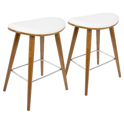 """Set of 2 26"""" Saddle Counter Height Barstools with Faux Leather - LumiSource"""