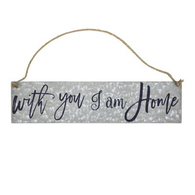 With You I Am Home  Galvanized Metal With Rope Hanger Wall Decor Gray - E2 Concepts