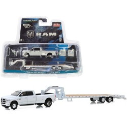 2018 Dodge Ram 3500 Laramie Pickup Truck w/Gooseneck Trailer White Ltd Ed 2438 pcs 1/64 Diecast Model Car by Greenlight