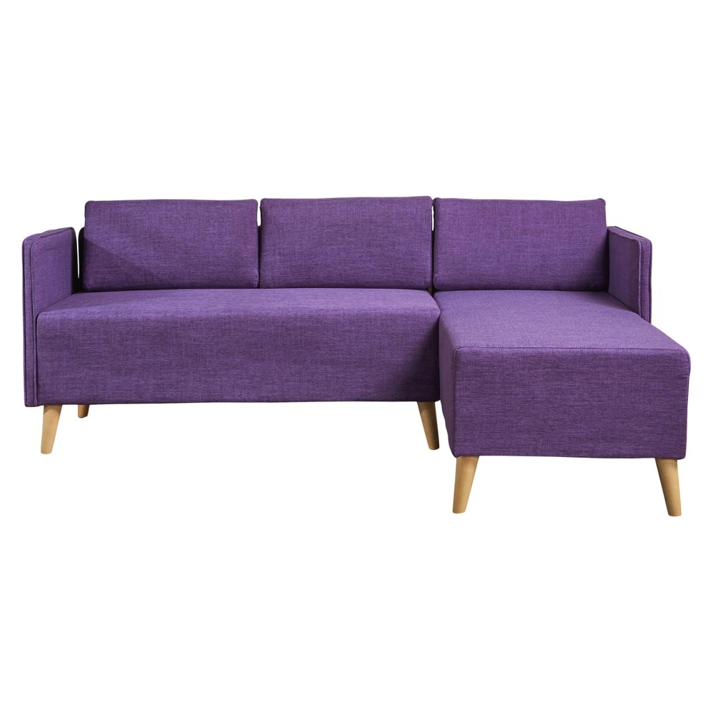Augustus Mid-Century Chaise Sectional - Muted Purple - Christopher Knight Home