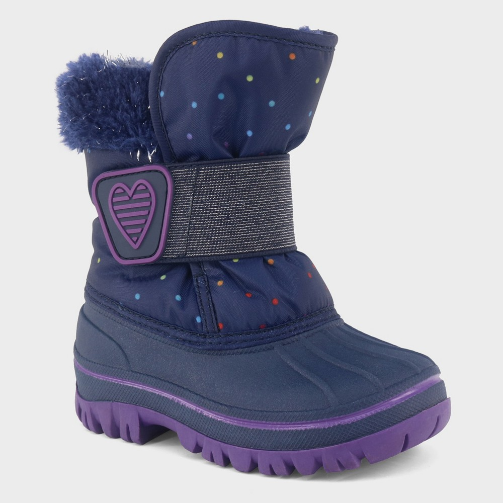 Toddler Girls' Charissa Glitter Faux Fur Winter Boots - Cat & Jack Navy (Blue) 12