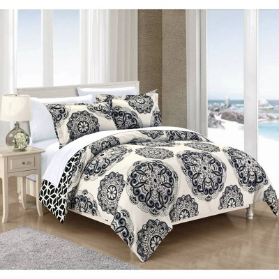 Chic Home Design King 3pc Aragona Duvet Cover & Sham Set Black