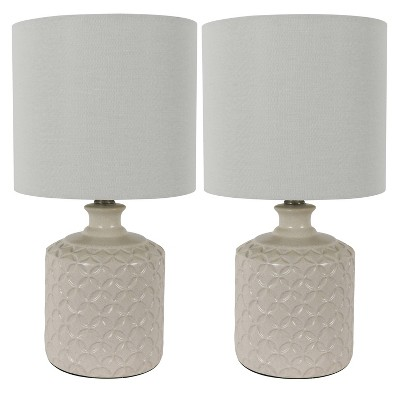 "17"" (Set of 2)Della Ceramic Table Lamps White (Includes LED Light Bulb)- Decor Therapy"