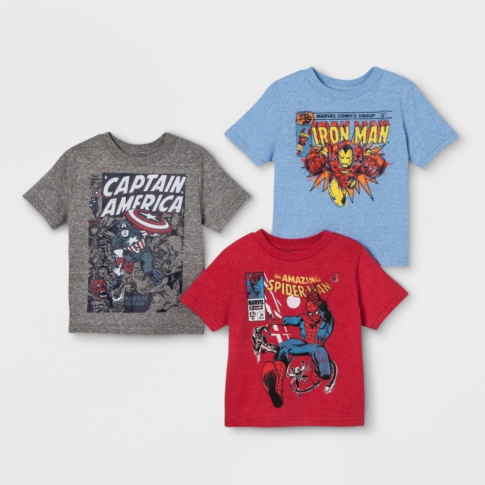 Toddler Boys' 3pk Marvel Short Sleeve T-Shirts - Blue/Gray/Red 3T, Multicolored