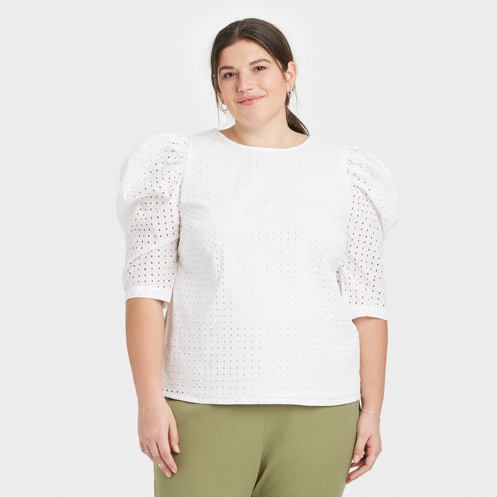 Women 39 S Plus Size Elbow Sleeve Eyelet Top A New Day 8482 White 3x