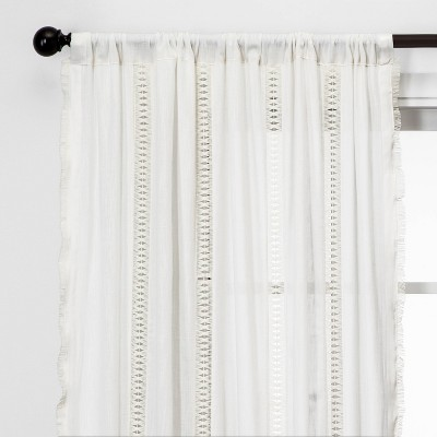 "108""x42"" Lace Trim Light Filtering Window Curtain Panel Sour Cream - Opalhouse™"