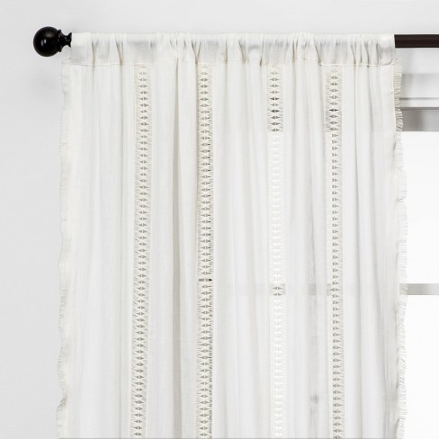 Lace Trim Light Filtering Curtain Panel - Opalhouse™ - image 1 of 4