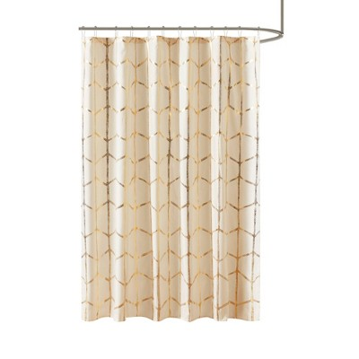 Arielle Printed Metallic Shower Curtain Ivory/Gold