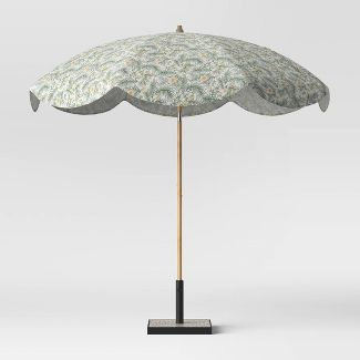 8.5' Round Scalloped Spring Floral Patio Umbrella Green - Light Wood Pole - Opalhouse™
