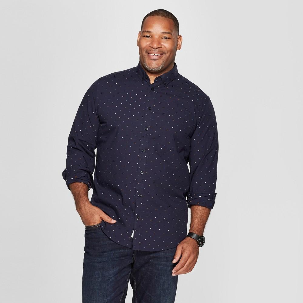 Men's Big & Tall Long Sleeve Standard Fit Northrop Poplin Button-Down Shirt - Goodfellow & Co Stargaze Navy 5XB