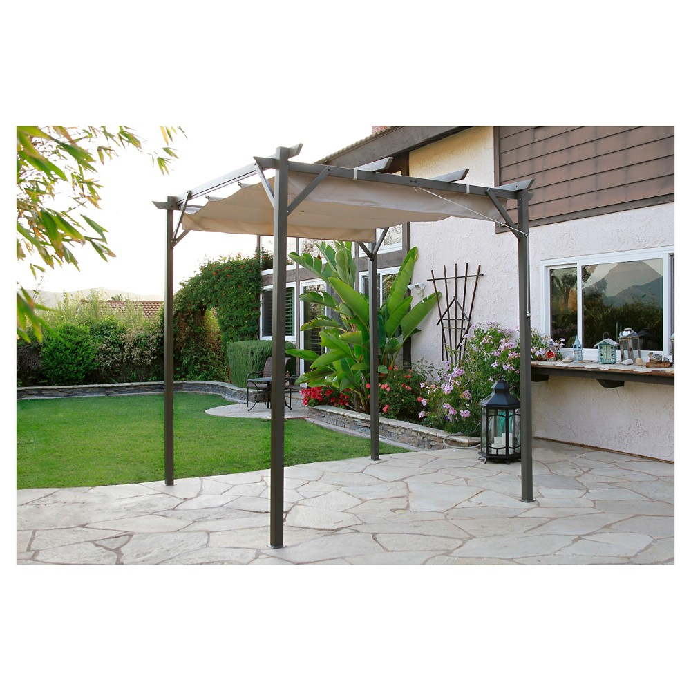 Image of Pacific Casual 8' x 8' Steel Pergola with Retractable Top, Beige