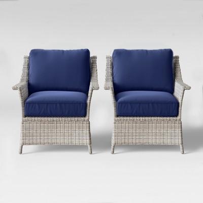 Bar Harbor 2pk Patio Club Chair - Navy - Threshold™