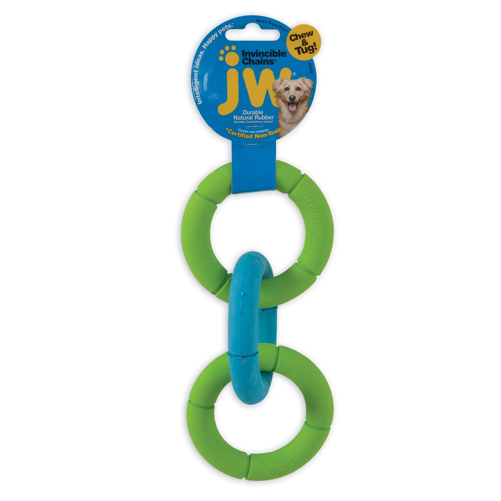 JW Invincible Triple Chains - Small, Multicolored Dogs love the rubber texture to chew on Solid, no glue construction stands up to the abuse. A terrific tug as well - easy to hold on to while your dog tugs will all his or her might. Enjoy a game of toss and tug with this unique dog toy. Rubber rings with rope Durable, great for interactive play Ideal for tug and fetch Color: Multicolored.