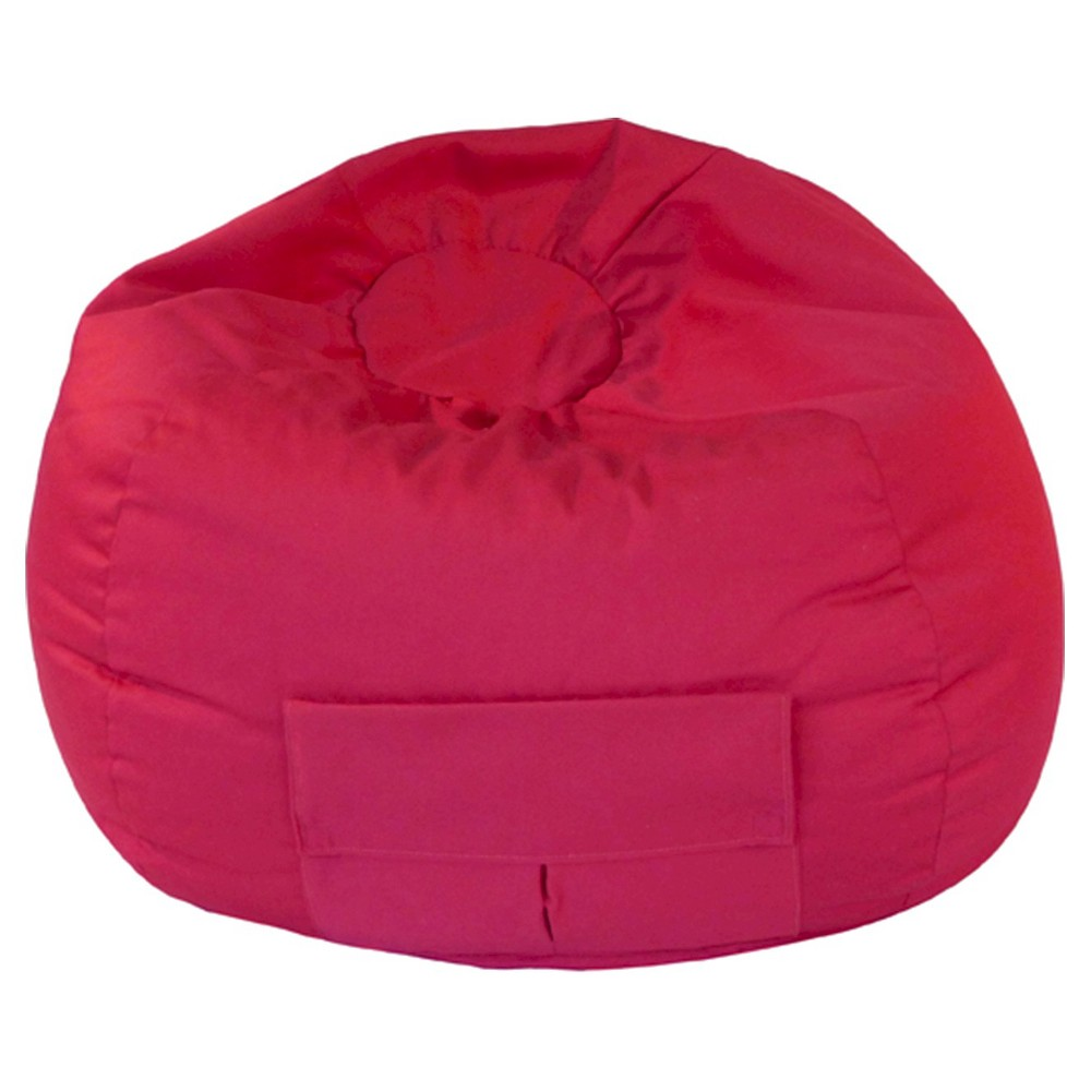 Gold Medal Bean Bag Chair Really Denim Look with Cargo Pocket - Red