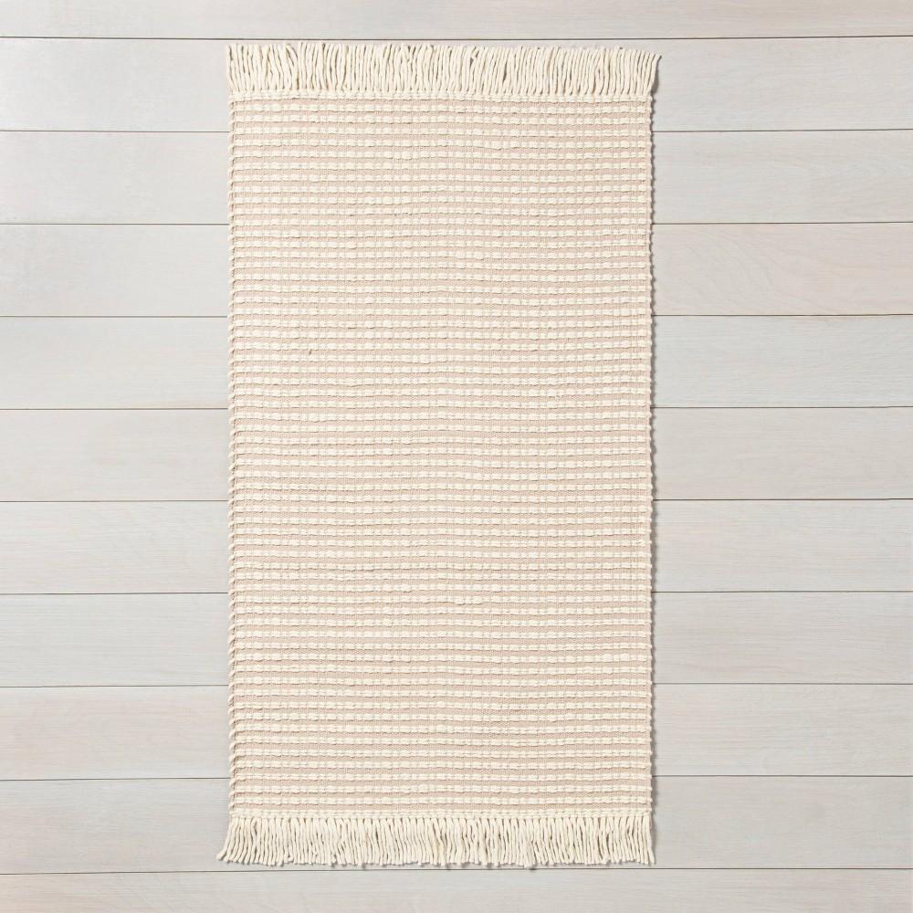 x 3' Textured Stripe Area Rug Best Beige / Sour Cream