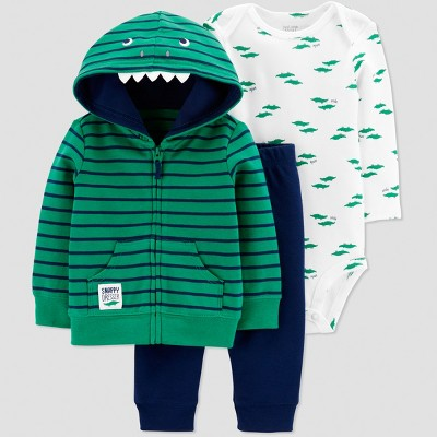 Baby Boys' 3pc Gator Striped Long Sleeve Cotton Cardigan Set - Just One You® made by carter's Green/Blue/White Newborn