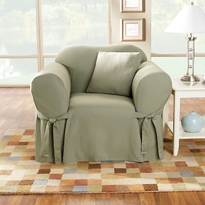 Cotton Duck Chair Slipcover Sage Green - Sure Fit