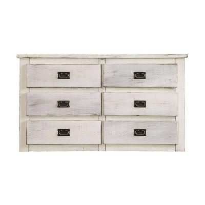 Plank Design 6 Drawer Wooden Dresser with Bail Pulls White - Benzara